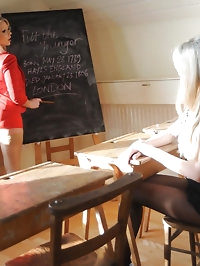 Lesbian blonde teacher Miss Abigail and schoolgirl..