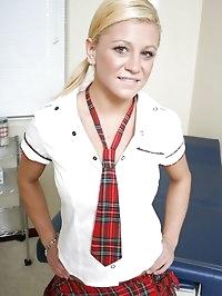 Sexy blonde school has pussy spread by hot school nurse