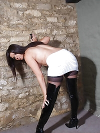 Thigh high PVC leather boots get this babes pussy nice and..