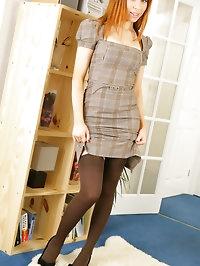 Saucy secretary Alexandra in a smart dress with pretty..
