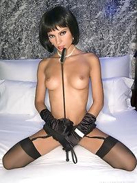 Small fetish brunette babe in black stockings ass teasing