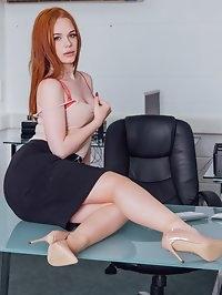 Hot Redhead Ella Hughes Earns Her Job by Fucking the Boss