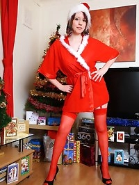 Busty Brit amateur Jenny in santa suit and sexy stockings