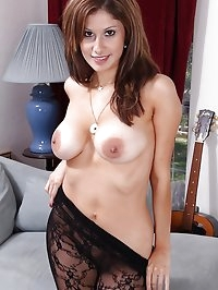 Big natural MILF Carla in sheer body stocking.