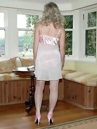 sheer white panties and nylons