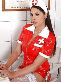 Nurse Zafira examining Alysa's ass