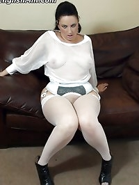 Big booty milf dressed in fishnet shows off her phat white..