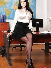 Seductive secretary bares it all