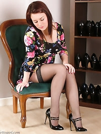 Sexy Sara tries on some gorgeous black high heels just for..