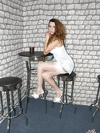 Nylon Jane wearing fluffy heels and sexy stockings